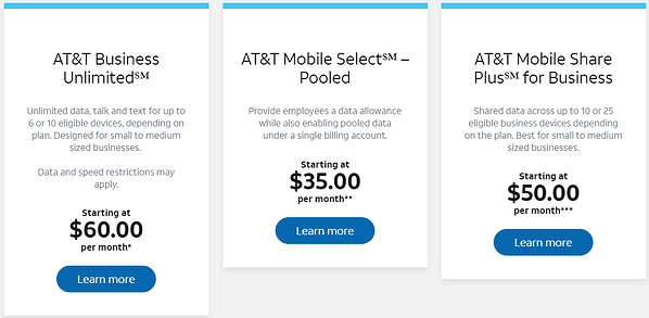 business wireless pricing at&t